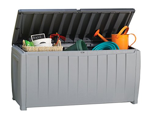 Keter 235484 Novel 90 Gallon Plastic Deck Storage Box - Outdoor Light Boxes