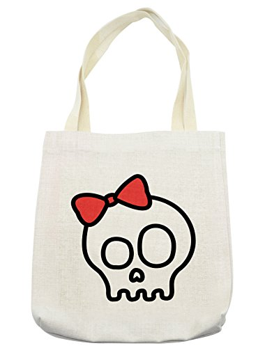 Lunarable Skull Tote Bag, Illustration of Baby Skull Girl with Lace and Halloween Dead Head Teen Emo Art, Cloth Linen Reusable Bag for Shopping Groceries Books Beach Travel & More, (Day Of The Dead Compared To Halloween)
