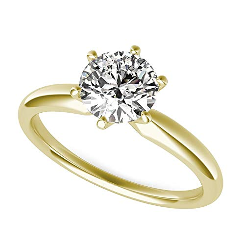 (1.0 ct Brilliant Round Cut Solitaire Highest Quality moissanite Engagement Wedding Bridal Promise Anniversary Ring in Solid Real 14k Yellow Gold for Women, Size 5.5)