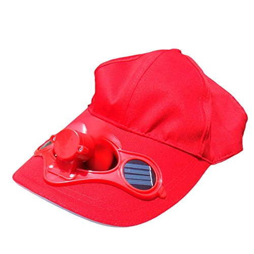 Solar Power Fan Cap Maserfaliw Women's Men's Summer Fishing Cap Solar Power Cool Fan Beach Boater Hat Gift - Red, Home Life, Office, Holiday Gifts.