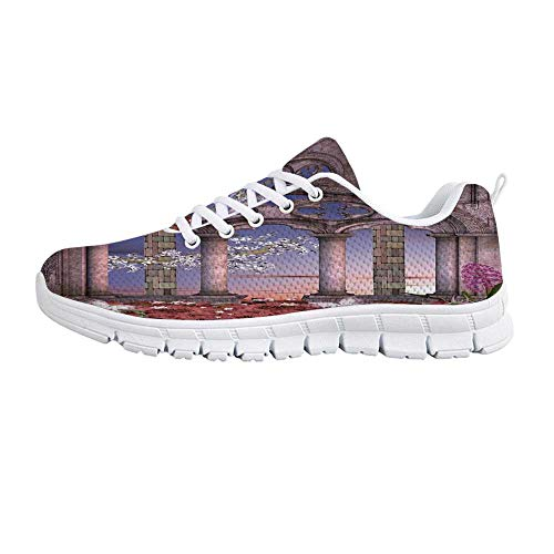 (YOLIYANA Gothic Lightweight Walking Shoes,Ancient Colonnade in Secret Garden with Flowers at Sunset Enchanted Forest Sneakers for Girls Womens,US Size 8.5 )