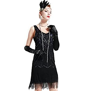BABEYOND Women's Flapper vestido con fleco