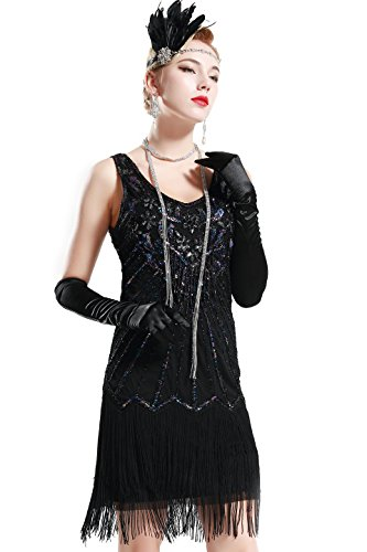 BABEYOND Women's Flapper Dresses 1920s V Neck Beaded Fringed Dress Great Gatsby Dress (Black, L)