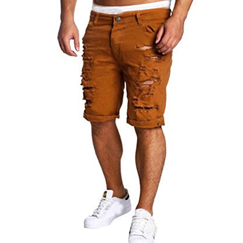 Funic Men's Casual Jeans Shorts Knee Length Hole Ripped Pants Short Pants (3XL, Brown)