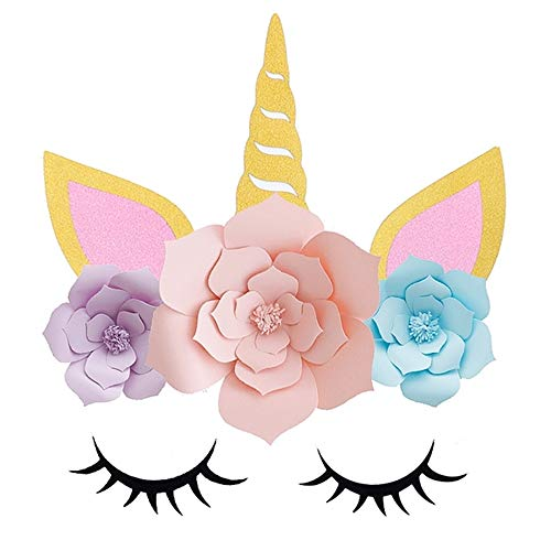 Diy Unicorn Horn (Unicorn Party Supplies, Favors & Decorations Backdrop,Handmade Unicorn Horn Ears For Girls Boys Unicorn theme Birthday Party Baby Shower- DIY Unicorn Flower)