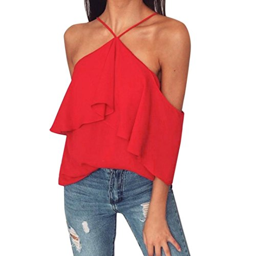 Napoo-Women Blouse Womens Pleated Puff Sleeve Tops Choker Neck Halter T-Shirts (M, (Stretch Puff)