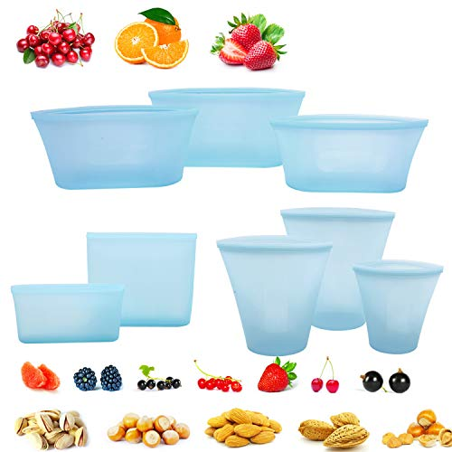 8 Pack Reusable Silicone Food Bag Zip Lock Containers, BPA Free Leakproof Cup Pattern Dishes Storage Bags for Fruit / Snack / Vegetables, Microwave Dishwasher & Freezer Safe, Blue