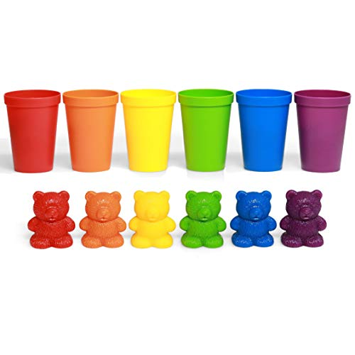 72 Rainbow Colored Counting Bears with Cups for Children, Montessori Toddler Learning Toys, Colorful Educational Tool for Learning STEM Education, Mathematics, Counting and Sorting Toys for Autism