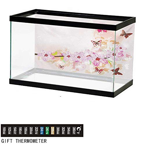 - Aquarium Background,Peach,Artistic Spring Flower Arrangement with Cute Little Butterflies Wildflowers on Branch,Multicolor Fish Tank Backdrop 24