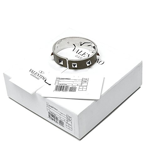 Wiberlux Valentino Women's Silver Stud Detail Steel Cuff Bracelet One Size Olive by Wiberlux (Image #6)