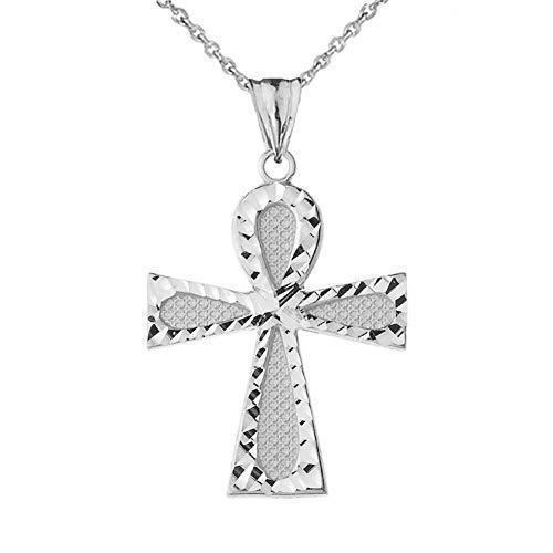 Bold Sterling Silver Filigree-Style Ankh Cross Pendant Necklace, 18