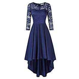 KOJOOIN Women's Vintage Floral Bridesmaid Dress Lace Dress Wedding Evening Party Cocktail Midi Prom High Waist Dresses