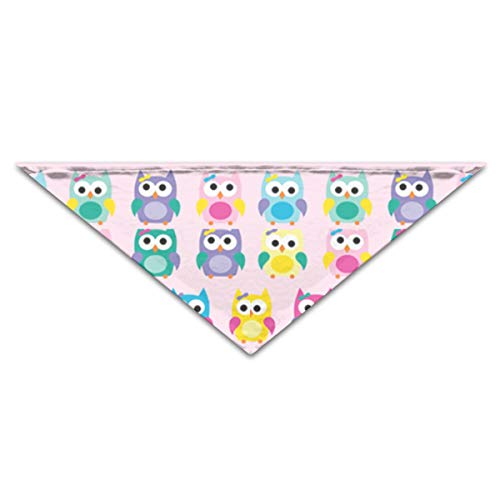 OLOSARO Dog Bandana Girly Owls On Pink Triangle Bibs Scarf Accessories for Dogs Cats Pets Animals -