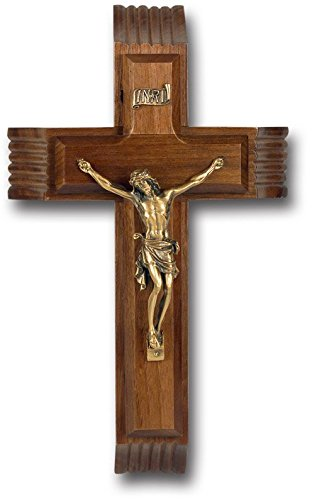 Sick Call (BERTOF Walnut Sick Call Crucifix Cross With Genuine Museum Gold Plated Corpurs With Candles & Holy Water Container 10