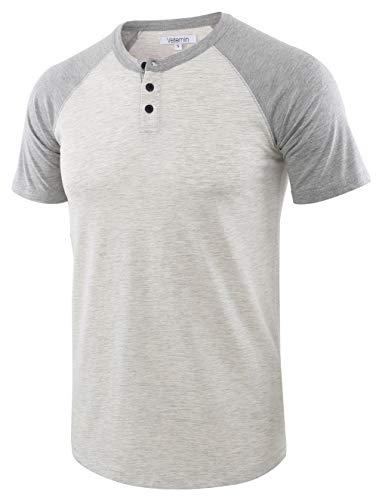 (Vetemin Men's Casual Short Sleeve Raglan Henley T-Shirts Baseball Shirts Tee H.Oatmeal/H.Gray XXL)