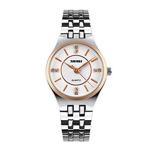SKMEI Fashion Rhinestone Quartz Watch Women Waterproof Stainless Steel Rose Gold Lady Dress Watch Analog