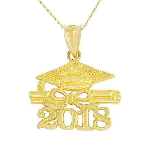 10k Gold Diploma & Cap Charm 2018 Graduation Pendant Necklace, 22