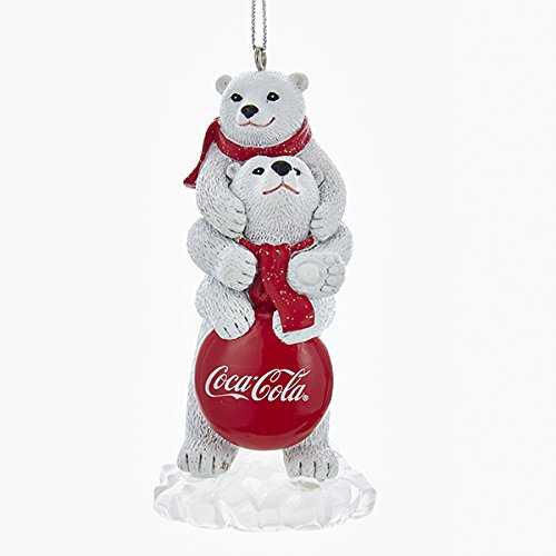 Kurt Adler COCA-COLA POLAR BEARS WITH LOGO SIGN
