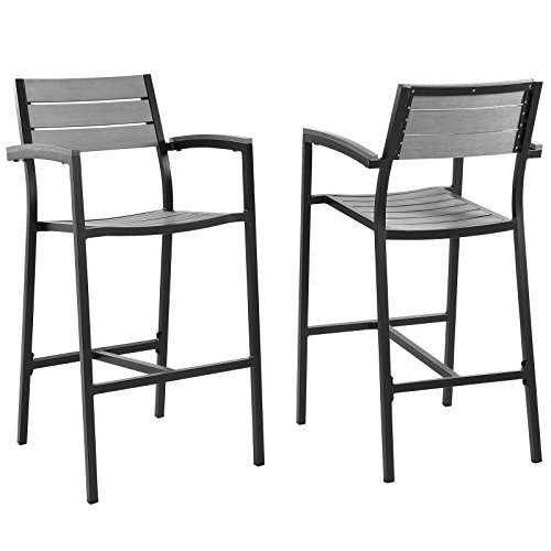 Modway Maine Aluminum Outdoor Patio Bar Stools in Brown Gray - Set of 2 (Furniture Maine Wicker)