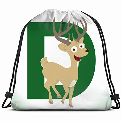 alphabet animal deer start d illustrations clip art Drawstring Backpack Gym Sack Lightweight Bag Water Resistant Gym Backpack for Women&Men for Sports,Travelling,Hiking,Camping,Shopping Yoga