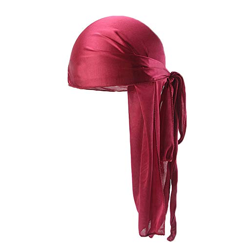 (Unisex Deluxe Silky Durag Extra Long-Tail Headwraps Pirate Cap 360 Waves Du-RAG (Plain Wine Red)