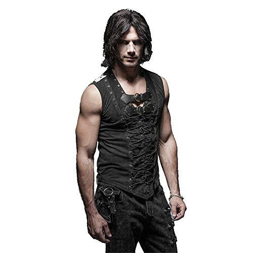 Punk Rock Man Cotton Leather Belt Sleeveless T-shirt Front Strap Vest Bandage Casual Tank Tops ()
