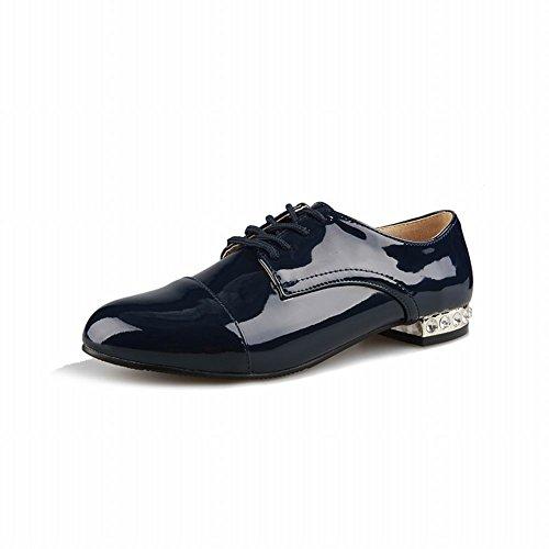 Latasa Femmes Mode Faible Talons Chunky Lacets En Cuir Verni Richelieus Chaussures Bleu Foncé