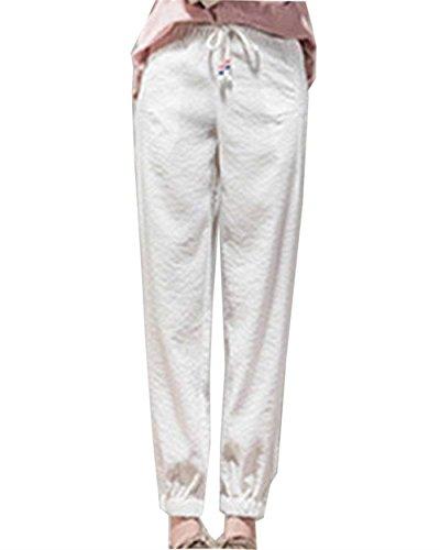 Pingrog Donna Lino Pantaloni Vintage Monocromo Sciolto Vita Elastica Tempo Libero Pantaloni Con Coulisse Moda Accogliente Pantaloni Estivi Elegante Pantaloni Sportivi Pantaloni Harem Beige