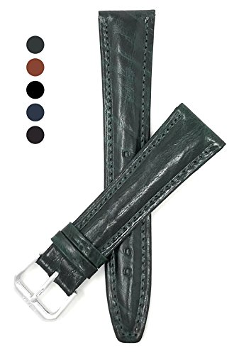 Extra Long (XL), 18mm wide, Classic, Dark Green Genuine Leather Watch Band Strap, Semi-Glossy Finish, Also Comes in Black, Tan, Blue and (Black Glossy Leather Watch Band)