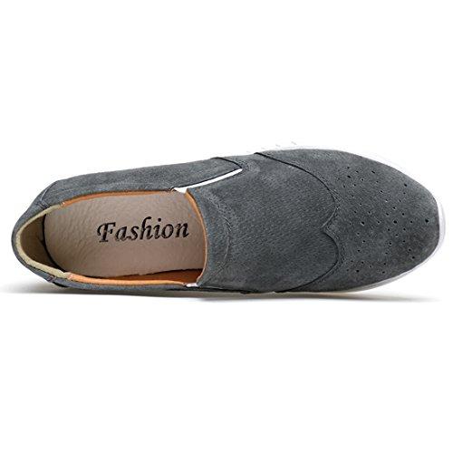 Minishion Dames Ronde Neus Instapper Platform Casual Pumps Loafers Grijs