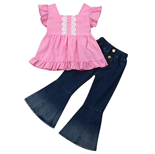 2PCS Baby Girl Off Shoulder Tube Top Shirt+Ruffle Floral Pants Casual Clothing (E-Pink, 5-6 Years) ()