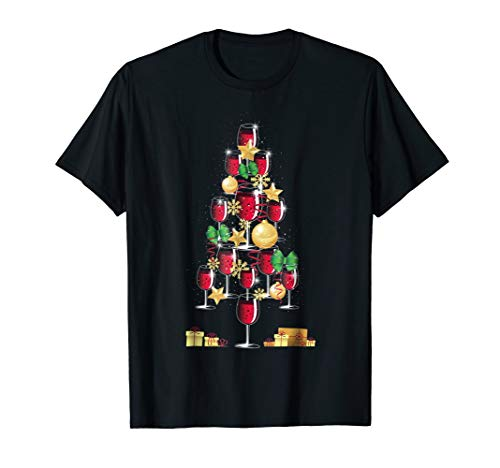 Connoisseur Gold Pinot - 12 Days of Christmas Glasses of Red Wine Christmas Tree Tee