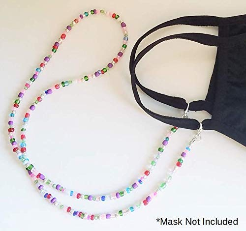 Handmade in the USA BEADING ARTISTRY 28 Inches Mask Leash Mask Lanyard Mask Accessory Mask Strap Beaded Mask Holder Pink and Silver