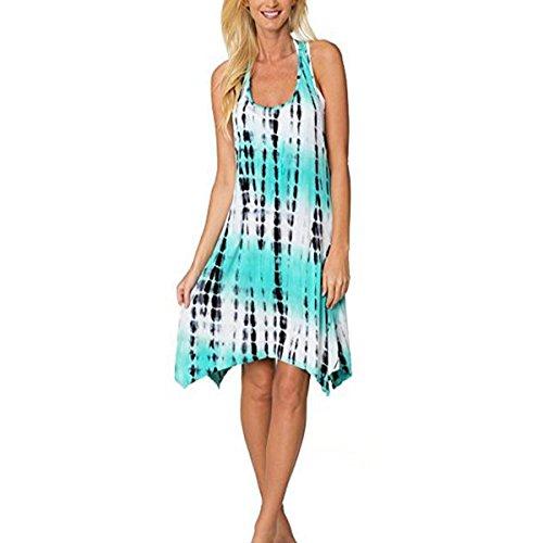 Green Summer Dye Tie Dress Dress Irregular Sundress Beach Ombre Linaking Tunic Lady Women Hem Hipsters Sleeveless for xnYqfTTBa