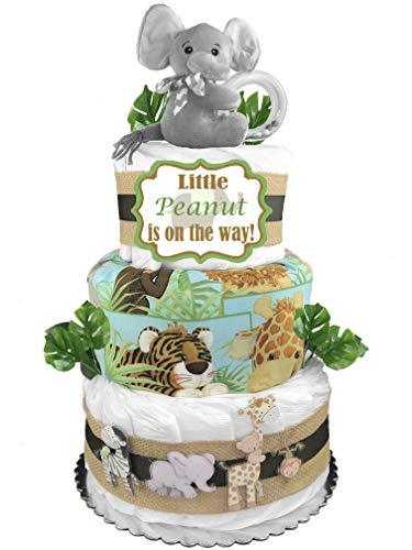 - Safari 3-Tier Diaper Cake - Boy Baby Shower Gift - Elephant