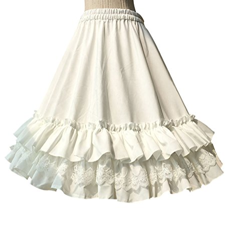 Nuoqi Women's 50s Petticoats Sweet Lolita Dress Tutu Swing Skirts White Cosplay Accessories ()