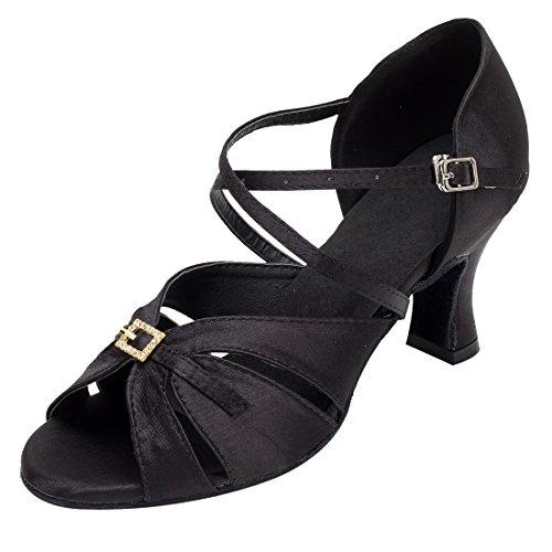 Tda Mujeres Peep Toe Correa Del Tobillo Rhinestones Hebilla De Satén Salsa Ballroom Zapatos De Boda De Baile Latino 7 Cm De Tacón Negro