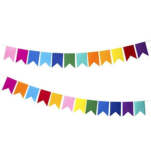 Rainbow felt Fabric Bunting, 24 Pcs/ 16.4 Feet(2 Pack), Decoration Banners for Birthday Party, Baby Shower, Window Decorations and Children's Living Room -