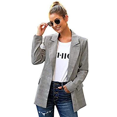 luvamia Women's Casual Long Sleeve Lapel Button Slim Work Office Blazer Jacket at Women's Clothing store