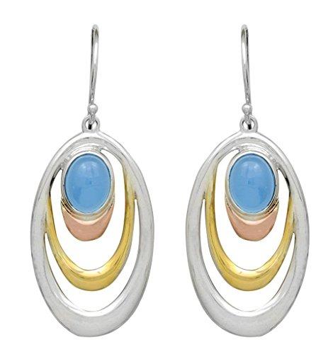 Blue Chalcedony Dangle Earrings Solid Sterling Silver Designer Women Jewelry Gifts (Chalcedony Dangle Blue)