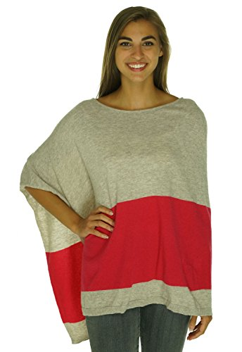 INC Womens Wool Blend Colorblock Poncho Sweater Red L/XL (Church Top Falls Red)