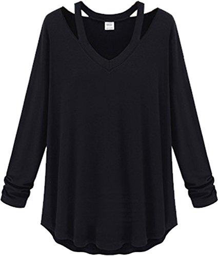 Longues Mode Asie Ads Taille Bouse Special Femme À Chemises Manches Uni Noir Cou T6fHXqpf