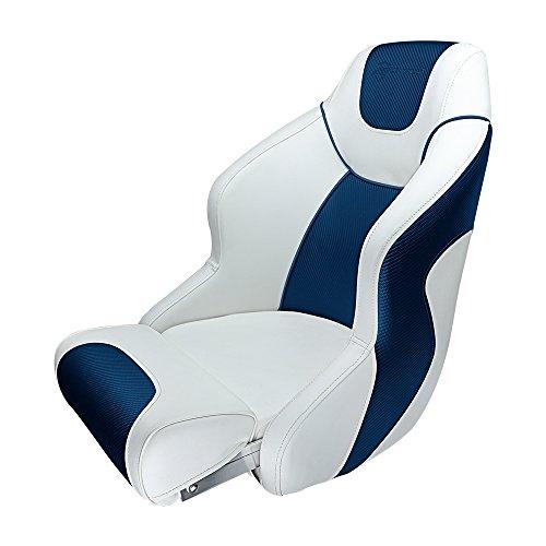 Premium Bucket Seat - Seamander S1045 Series Premium Bucket Seat,Sport Flip Up Seat, Captain Seat (White/Blue)