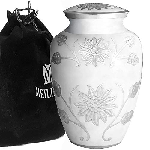 MEILINXU Funeral Urn Cremation Urns Human Ashes Adult Memorial - Hand Made in Brass Hand Engraved - Display Burial Urns At Home in Niche at Columbarium (Rosedale White, Large Urn) by MEILINXU