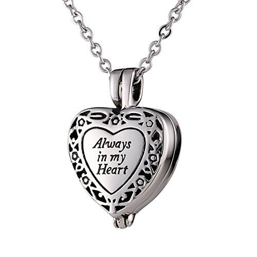 - Beydodo Ashes Neckalce Stainless Steel Vintage Flower Pattern Heart Cremation Jewelry Urn Necklace