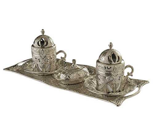 MisterCopper New 2016 In short supply Turkish Greek Arabic Coffee Espresso Serving Set for 2,Cups Saucers Lids Tray Delight Sugar Dish 11pc