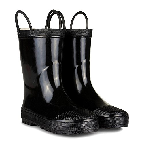 [[SBR002P-BLACK-Y3] Boys Rain Boots - Black Youth Boot Easy On Handle Size 3] (Black Kids Boots)