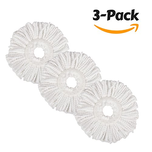 Cotton Looped End Wet Mop (Hapinnex Microfiber Mop Heads- Lot of 3x Microfiber Cloth Head Replacements - Compatible with major round spin magic mop (with diameter between 6.1