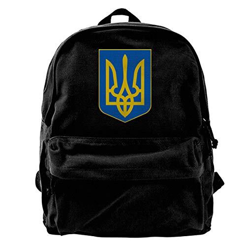 Patrick C Smith Ukraine Coat of Arms Canvas Durable Travel Hiking Backpack Laptop Backpack Student Backpack
