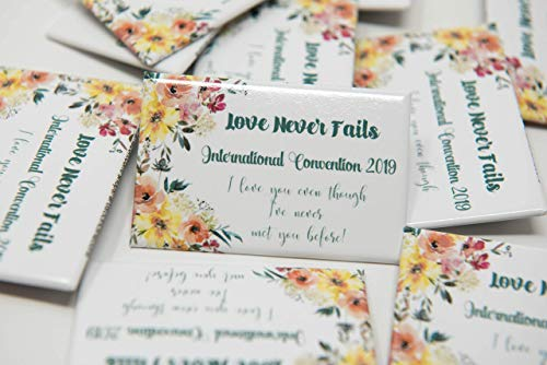 (ENGLISH - 50 Lapel Buttons Pins - Love Never Fails International Convention of Jehovah's Witnesses 2019, Jw gifts, Jw shop, souvenirs, assembly gifts)